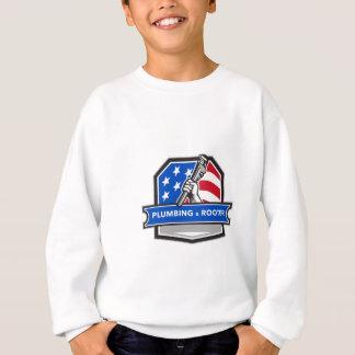 Plumber Hand Pipe Wrench USA Flag Crest Retro Sweatshirt