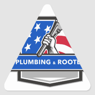 Plumber Hand Pipe Wrench USA Flag Crest Retro Triangle Sticker