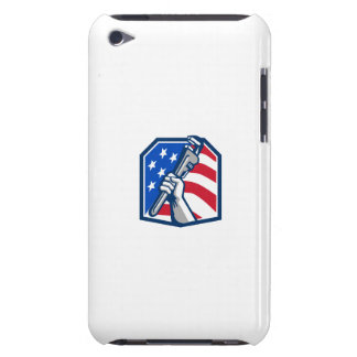 Plumber Hand Pipe Wrench USA Flag Retro Barely There iPod Cover