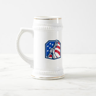 Plumber Hand Pipe Wrench USA Flag Retro Beer Stein