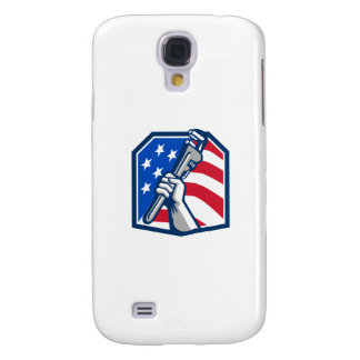 Plumber Hand Pipe Wrench USA Flag Retro Samsung Galaxy S4 Cases
