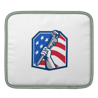 Plumber Hand Pipe Wrench USA Flag Retro Sleeve For iPads