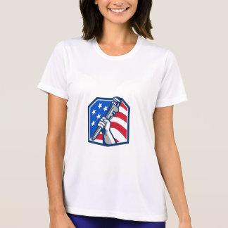 Plumber Hand Pipe Wrench USA Flag Retro T-Shirt