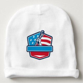Plumber Hand Pipe Wrench USA Flag Shield Retro Baby Beanie