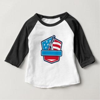 Plumber Hand Pipe Wrench USA Flag Shield Retro Baby T-Shirt