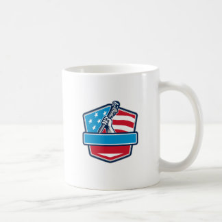 Plumber Hand Pipe Wrench USA Flag Shield Retro Coffee Mug