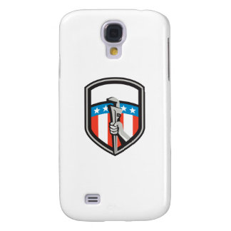 Plumber Hand Pipe Wrench USA Flag Shield Retro Galaxy S4 Cover