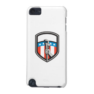 Plumber Hand Pipe Wrench USA Flag Shield Retro iPod Touch (5th Generation) Case