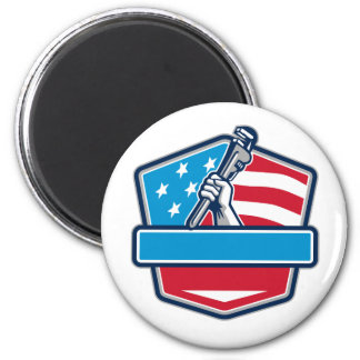 Plumber Hand Pipe Wrench USA Flag Shield Retro Magnet