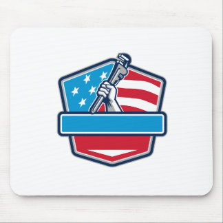 Plumber Hand Pipe Wrench USA Flag Shield Retro Mouse Pad