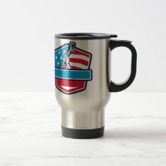 Plumber Hand Pipe Wrench USA Flag Shield Retro Travel Mug