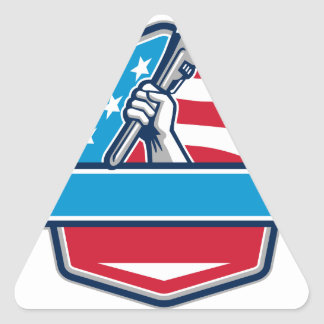 Plumber Hand Pipe Wrench USA Flag Shield Retro Triangle Sticker