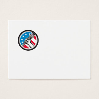 Plumber Hand Pipe Wrench USA Flag Side Angled Circ Business Card