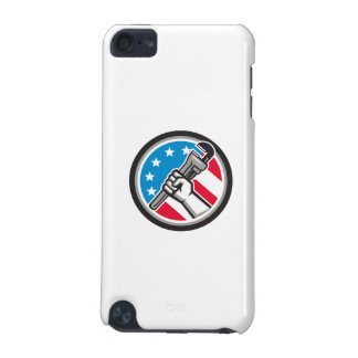 Plumber Hand Pipe Wrench USA Flag Side Angled Circ iPod Touch 5G Cases