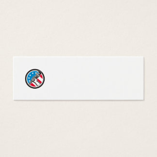 Plumber Hand Pipe Wrench USA Flag Side Angled Circ Mini Business Card
