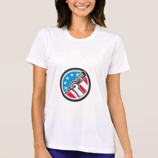 Plumber Hand Pipe Wrench USA Flag Side Angled Circ T-Shirt