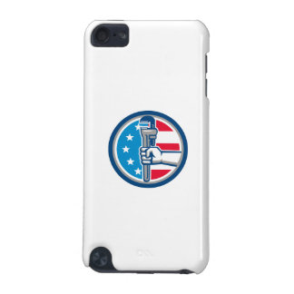 Plumber Hand Pipe Wrench USA Flag Upright Circle R iPod Touch (5th Generation) Covers
