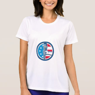 Plumber Hand Pipe Wrench USA Flag Upright Circle R T-Shirt