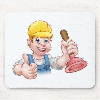 Plumber Handyman Holding Plunger Mouse Pad