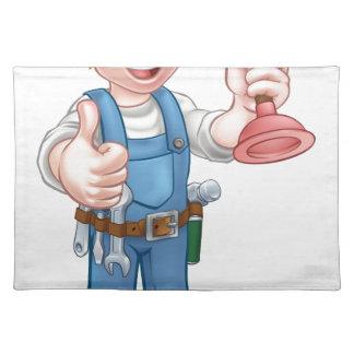 Plumber Handyman Holding Plunger Placemat