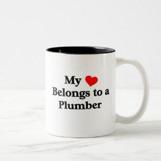 Plumber has my heart Two-Tone coffee mug