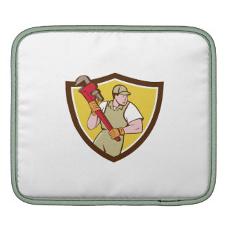 Plumber Holding Pipe Wrench Crest Cartoon iPad Sleeves