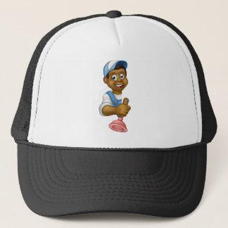 Plumber Holding Plunger Tool Trucker Hat