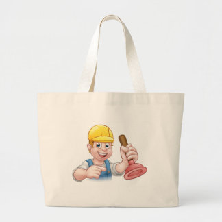 Plumber Holding Plunger with Hard Hat Large Tote Bag