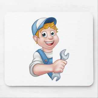 Plumber or Mechanic Holding a Spanner Mouse Pad