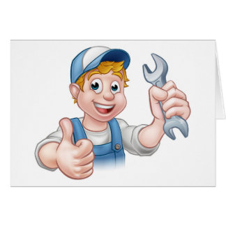 Plumber or Mechanic with Spanner Card