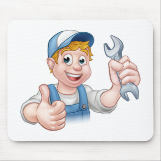 Plumber or Mechanic with Spanner Mouse Pad