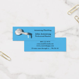 Plumber Pipe Water Dripping Mini Business Card