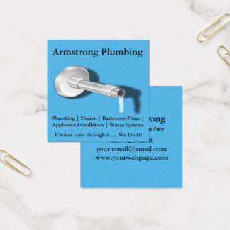 Plumber Pipe Water Dripping Square Business Card