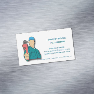 Plumber Pipe Wrench Plumbing Magnetic Business Card
