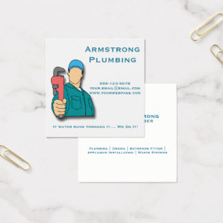 Plumber Pipe Wrench Plumbing Square Business Card