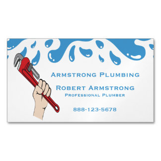Plumber Pipe Wrench Water Magnetic Business Card