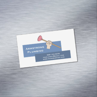 Plumber Plunger Plumbing Magnetic Business Card