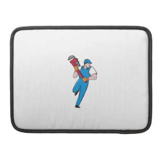 Plumber Running Pipe Wrench Cartoon Sleeves For MacBooks