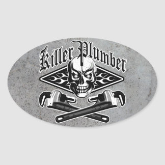 Plumber Skull: Killer Plumber 3.1 Oval Sticker