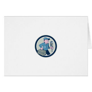 Plumber Toolbox Monkey Wrench Circle Cartoon Cards