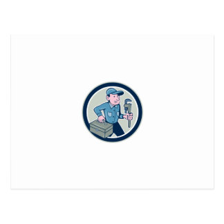 Plumber Toolbox Monkey Wrench Circle Cartoon Postcards
