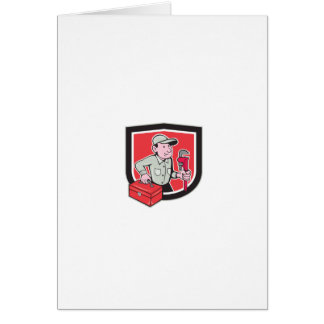 Plumber Toolbox Monkey Wrench Shield Cartoon Greeting Card
