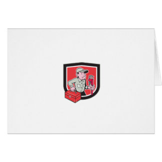 Plumber Toolbox Monkey Wrench Shield Cartoon Cards