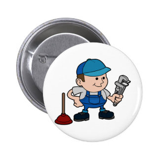 plumber with wrench 6 cm round badge