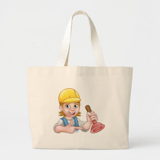 Plumber Woman Holding Plunger Large Tote Bag
