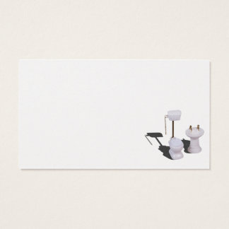 Plumbers working on porcelain toilet pull chain business card