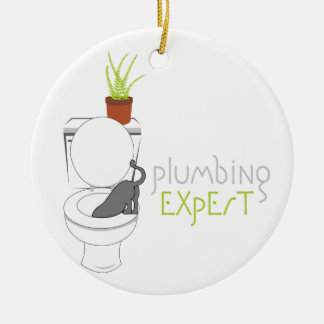 Plumbing Expert Round Ceramic Decoration