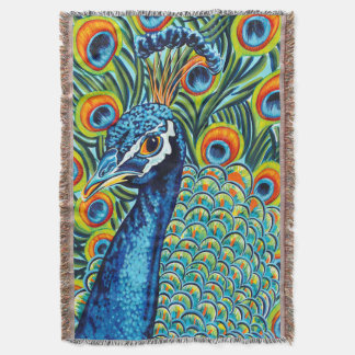 Plumed Peacock I Throw Blanket