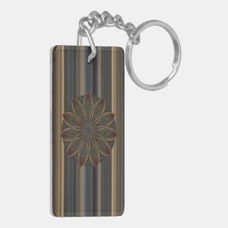 Plumed Petals Kaleidoscope Mandala Double-Sided Rectangular Acrylic Key Ring