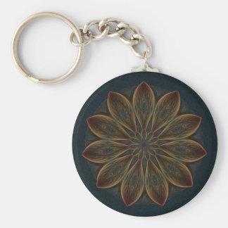 Plumed Petals Kaleidoscope Mandala Basic Round Button Key Ring